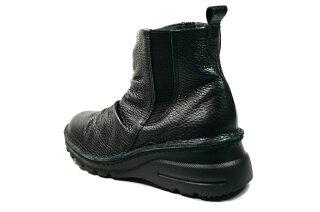ショートブーツ痛くない疲れない靴外反母趾日本製高級感ファスナーしわしわシャーリングブーツ本革痛くない靴疲れない靴黒本革レディース靴ぺたんこ