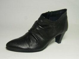 ショートブーツ革・ヒール・しわブーツ黒本革レディース靴yurikomatsumoto