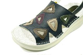 ベルトサンダル本革日本製痛くない靴疲れない靴黒本革レディース靴yurikomatsumoto送料無料