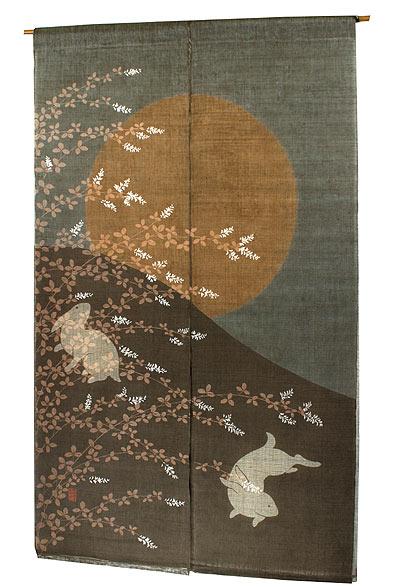 和風二重のれん・月見うさぎ(暖簾)メーカー取り寄せ品:のれん・タペストリー遊彩