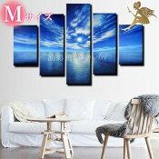『モダンアートパネル』絵画手書き絵油彩画油絵壁掛け油絵油彩画SHOPART『5パネルSET1010海と空Mサイズ』