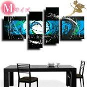『モダンアートパネル』絵画手書き絵油彩画油絵壁掛け油絵油彩画SHOPART『4パネルSET1040シックブルー系Mサイズ』