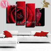 『モダンアートパネル』絵画手書き絵油彩画油絵壁掛け油絵油彩画SHOPART『パネルSET1055真っ赤な薔薇Mサイズ』