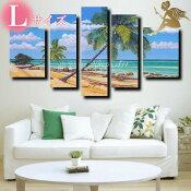 『モダンアートパネル』絵画手書き絵油彩画油絵壁掛け油絵油彩画SHOPART『5パネルSET1154常夏の島Lサイズ』