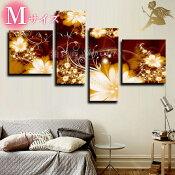 『モダンアートパネル』絵画手書き絵油彩画油絵壁掛け油絵油彩画SHOPART『4パネルSET1168セピアのお花Mサイズ』
