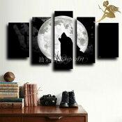 『モダンアートパネル』絵画手書き絵油彩画油絵壁掛け油絵油彩画SHOPART『5パネルSET1171満月と狼』