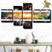 『モダンアートパネル』絵画手書き絵油彩画油絵壁掛け油絵油彩画SHOPART『4パネルSET1184橙グラデ』