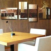 『モダンアートパネル』絵画手書き絵油彩画油絵壁掛け油絵油彩画SHOPART『4パネルSET1195ブラウンMサイズ』