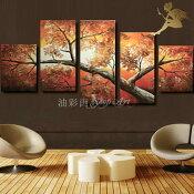 『モダンアートパネル』絵画手書き絵油彩画油絵壁掛け油絵油彩画SHOPART『5パネルSET1215秋の紅葉』