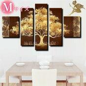 『モダンアートパネル』絵画手書き絵油彩画油絵壁掛け油絵油彩画SHOPART『5パネルSET1226一本の木Mサイズ』