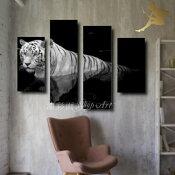 『モダンアートパネル』絵画手書き絵油彩画油絵壁掛け油絵油彩画SHOPART『4パネルSET1300ホワイトタイガー』