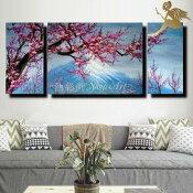 『モダンアートパネル』絵画手書き絵油彩画油絵壁掛け油絵油彩画SHOPART『3パネルSET1383お花と山』