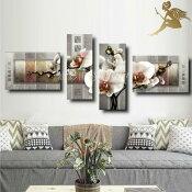 『モダンアートパネル』絵画手書き絵油彩画油絵壁掛け油絵油彩画SHOPART『4パネルSET1507胡蝶蘭グレー』