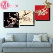 『モダンアートパネル』絵画手書き絵油彩画油絵壁掛け油絵油彩画SHOPART『3パネルSET1514枝の桜Mサイズ』