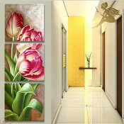 『モダンアートパネル』絵画手書き絵油彩画油絵壁掛け油絵油彩画SHOPART『3パネルSET1523縦ピンクチューリップ』