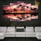『モダンアートパネル』絵画手書き絵油彩画油絵壁掛け油絵油彩画SHOPART『5パネルSET1662夕焼けのココナッツビーチ』