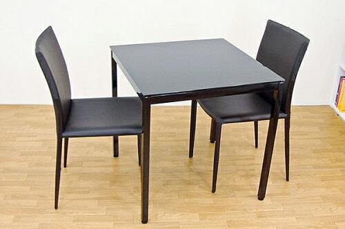 URBANガラステーブルセット70 2色ガラス天板テーブルとモダンなチェア! AQGT-70BK&AQC-2027BK(2...
