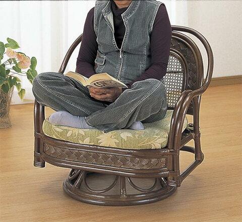 イス・チェア 座椅子 籐 ワイドラウンドチェアー Y502Bあぐらもかけるワイドタイプ!回転籐椅子ワイド回転ローチェア回転いす一人掛け1p自然素材籐家具籐製座椅子南国アジアン北欧ラタン