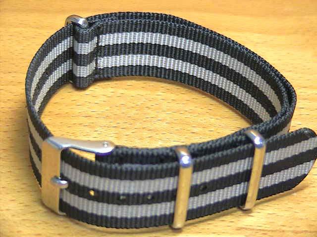 18mm 20mm 22mm NATO タイプ 引き通し 時計バンド 腕時計用 時計ベルト 時計用バンド ストライプモデル ブラック系