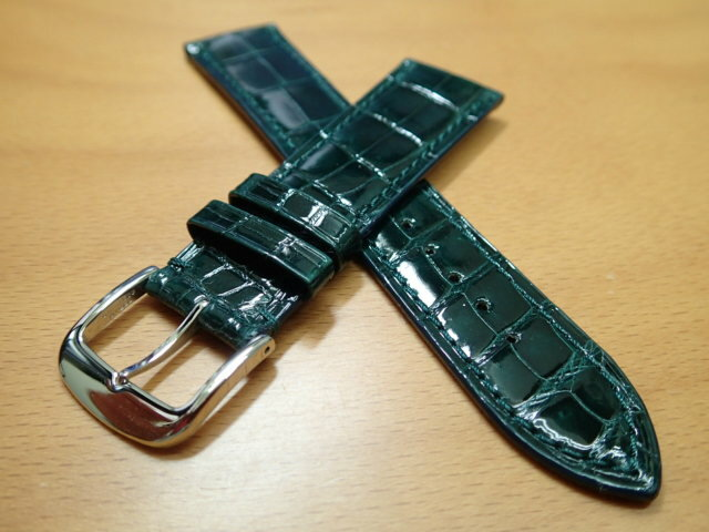18mm 20mm 時計バンド (腕時計) ベルト クロコダイル ワニ グリーン (緑) バネ棒 サービス 腕時計用 時計ベルト 時計用バンド 525円で販売しています バネ棒をサービスでお付けします:e-優美堂