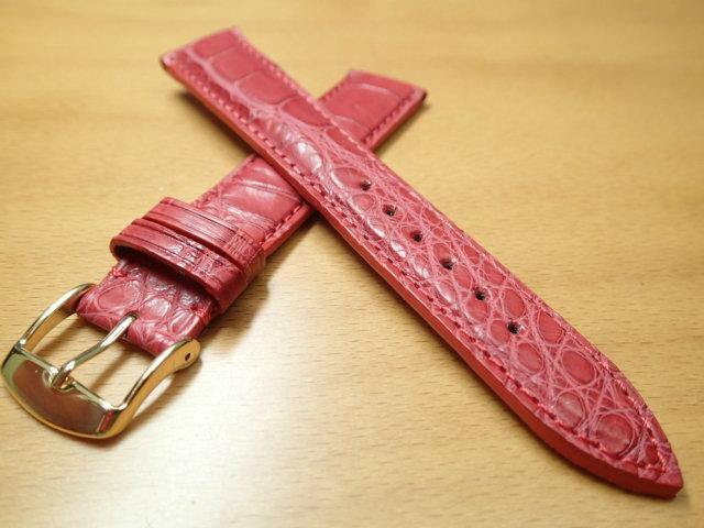18mm 時計バンド (腕時計) ベルト アリゲーター (ワニ) レッド (赤) バネ棒 サービス 腕時計用 時計ベルト 時計用バンド 525円で販売していますバネ棒をサービスでお付けします:e-優美堂