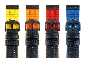 HIRSCHヒルシュAYRTON(アイルトン)Lサイズのみ腕時計ベルトカーフ(カーボン調型押し)カウチューク(天然ゴム)20mm/22mm/24mm