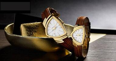 HAMILTON☆ハミルトン☆純正ベンチュラ専用ステンレススチールイエローゴールド色フレックスベルト17mmH605243100【時計はついておりません。バンドのみの販売です】