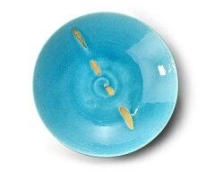 和食器 トルコブルー金彩大鉢 作家「荒木義隆」