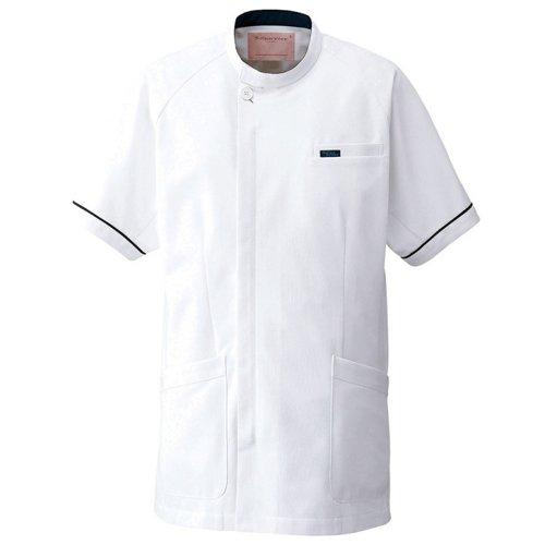 男子上衣 ホワイト×ネイビー 1014R-1 フォーク