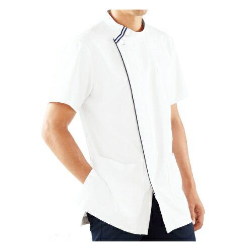 KAZEN メンズジャケット半袖 ホワイト×ネイビー 052-28