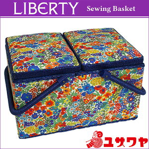 ○LIBERTYリバティプリントソーイングバスケット(MargaretAnnie×ネイビー)/SO-3631165-LAE[ソーイングボックス/裁縫箱]