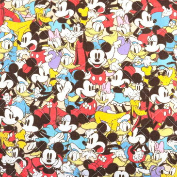生地 『ディズニー ミッキーマウス フレンズ柄 ベージュ カットクロス キルティング生地【ユザワヤ限定商品】