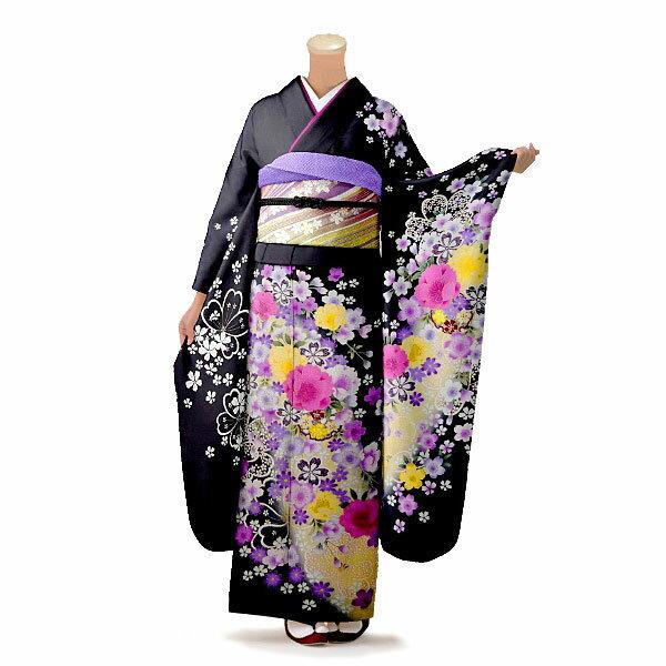 【レンタル】【成人式】振袖 フルセット 黒系 花柄 Lサイズ 結婚式 卒業式 結納 レンタル着物 66272