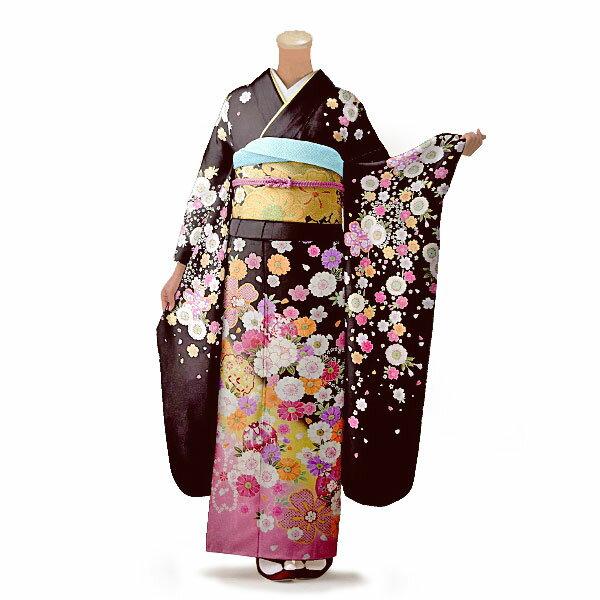 【レンタル】【成人式】振袖 フルセット 茶系 花柄 Lサイズ 結婚式 卒業式 結納 レンタル着物 76332