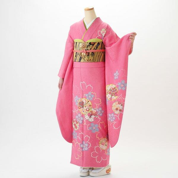 【レンタル】【成人式】振袖 フルセット ピンク・オレンジ系 花柄 Lサイズ 結婚式 卒業式 結納 レンタル着物 46152