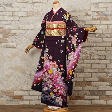 【レンタル】【成人式】振袖 フルセット 紫系 花柄 Mサイズ 結婚式 卒業式 結納 レンタル着物 56561