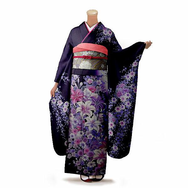 【レンタル】【成人式】振袖 フルセット 紫系 花柄 Mサイズ 結婚式 卒業式 結納 レンタル着物 56310