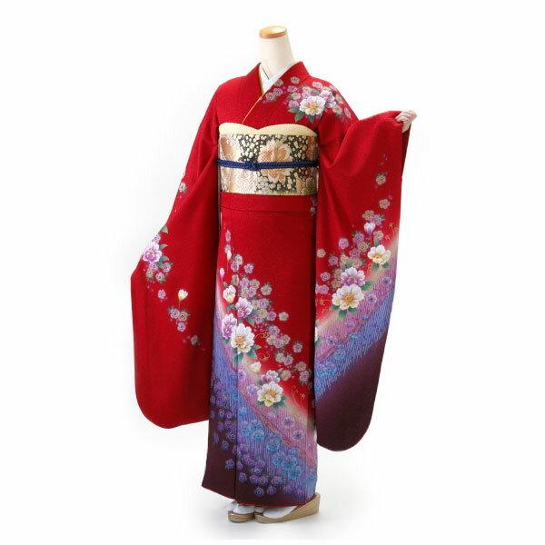 【レンタル】【成人式】振袖 フルセット 赤・ワイン系 花柄 Mサイズ 結婚式 卒業式 結納 レンタル着物 16639