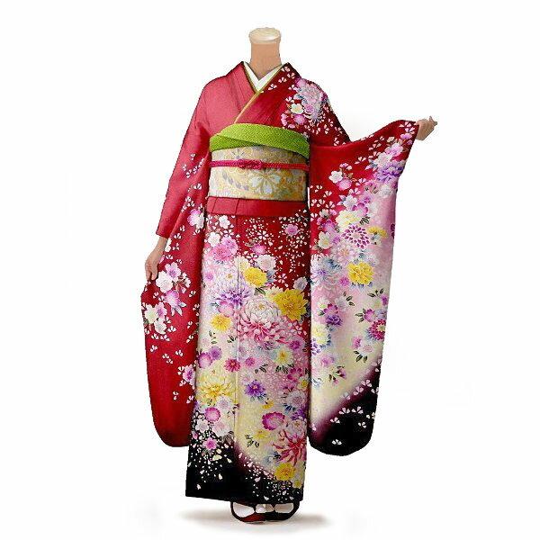 【レンタル】【成人式】振袖 フルセット 赤・ワイン系 花柄 Mサイズ 結婚式 卒業式 結納 レンタル着物 16208