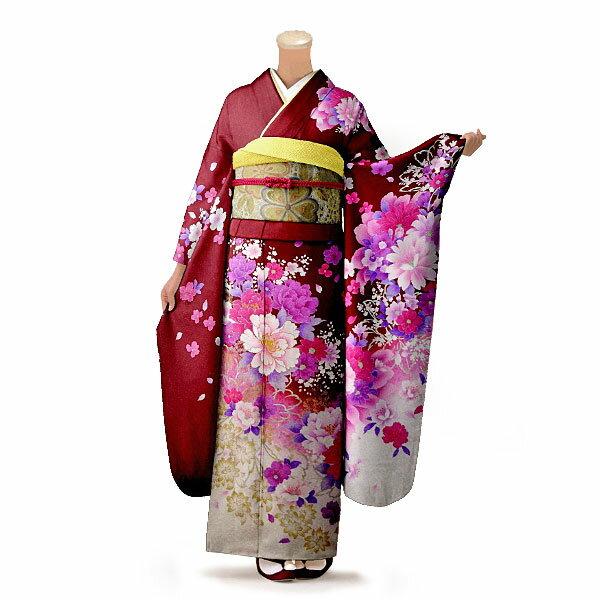 【レンタル】【成人式】振袖 フルセット 赤・ワイン系 花柄 Lサイズ 結婚式 卒業式 結納 レンタル着物 16281