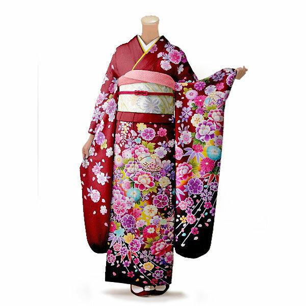 【レンタル】【成人式】振袖 フルセット 赤・ワイン系 花柄 Mサイズ 結婚式 卒業式 結納 レンタル着物 16424