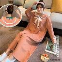 マタニティ パジャマ ルームウェア ワンピース 前ボタン 春秋 長袖 ゆったり 大きいサイズ オレンジ/ブルーグリーン/ライトグリーン M/L/2L