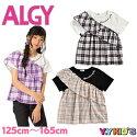 アルジーALGY子供服半袖Tシャツ2020夏物小学生女児女の子ガールズチェックフリルドッキングTシャツメール便可