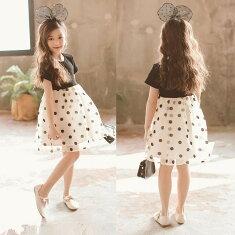 水玉ワンピースドレス半袖フォーマルドレス