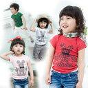 【メール便可】「マウスプリントTシャツ」[BAOBAO]【バオバオ】【子供服】【韓国子供服】【子供服おすすめ】(kids)fs3gm [女の子] [男の子] 【グリーン】【レット】 [白]「ピンク」【半袖】【Tシャツ】【ミッキーTシャツ】【激安】【90】【100】【110】【120】【130】