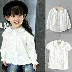 清爽な丸襟、ギャザ入り袖の可愛らしいドレスシャツ