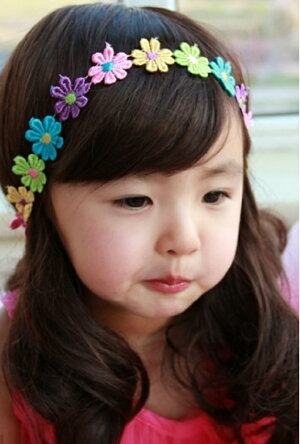 【新発売】[BAOBAO子供服(kids)]【海外輸入韓国風】[女の子]超可愛いキッズ(子供用)カラフルお花ヘアバンド