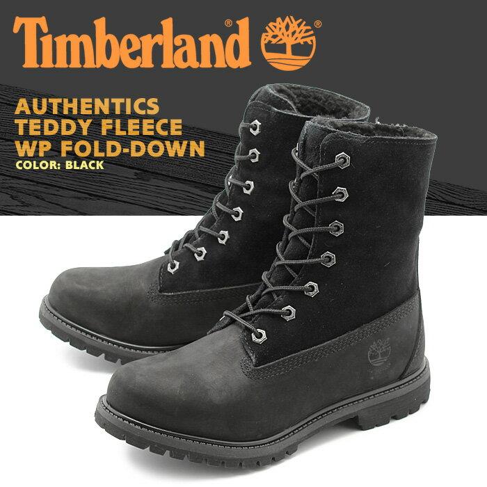 送料無料 ティンバーランド TIMBERLAND ブーツ オーセンティック テディ フリース ブラック(TIMBERLAND TB08149A AUTHENTICS TEDDY FLEECE FOLD-DOWN)レディース レザー 天然皮革 靴 ウォータープルーフ 防水 折り返し ロールトップ 黒 [1216boot]