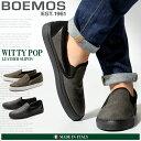 送料無料 BOEMOS ボエモス レザー スリッポン 全2色(WITTY POP I4-4329)メンズ(男性用) スリップオン シューズ カジュアル 天然皮革