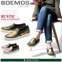 送料無料 BOEMOS ボエモス レザー スリッポン ブラック ブラウン 全2色(RUSTIC I4-8511)レディース(女性用) ゴールド シルバー スリップオン シューズ カジュアル スニーカー 天然皮革